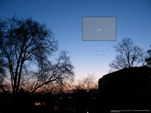 Peu après le coucher du Soleil, fin croissant de Lune se couchant par Gilles D.